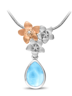 MarahLago Plumeria Collection Larimar Pendant / Necklace with White Sapphire & Rose Gold