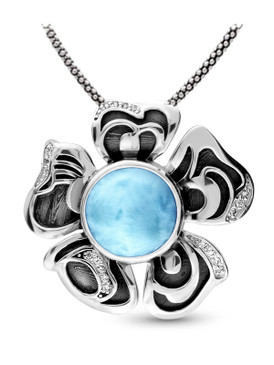 MarahLago Lotus Larimar Pendant / Necklace with White Sapphire