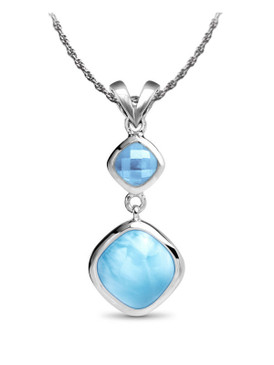MarahLago Atlantic Collection Cushion Larimar Necklace - 3x4 on rope