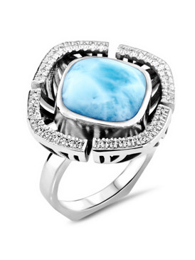MarahLago Aspen Collection Larimar Ring with White Sapphire - 3x4