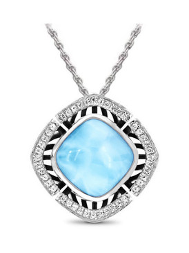 MarahLago Aspen Collection Larimar Necklace with White Sapphire