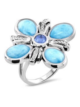 MarahLago Ariel Collection Larimar Ring with Blue Spinel & White Sapphire