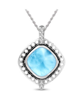 MarahLago Lexi Collection Larimar Necklace with White Sapphire - 3x4