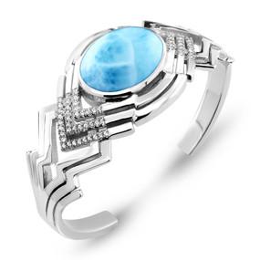 MarahLago Ritz Collection Larimar Cuff Bracelet with White Sapphire