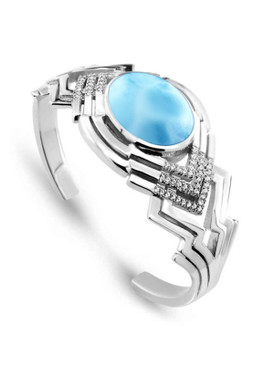 MarahLago Ritz Collection Larimar Cuff Bracelet with White Sapphire - 3x4