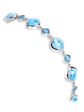 MarahLago Atlantic Collection Cushion Larimar Bracelet with Blue Spinel