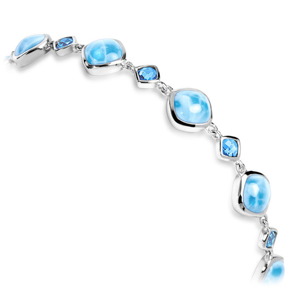 MarahLago Atlantic Collection Cushion Larimar Bracelet with Blue Spinel