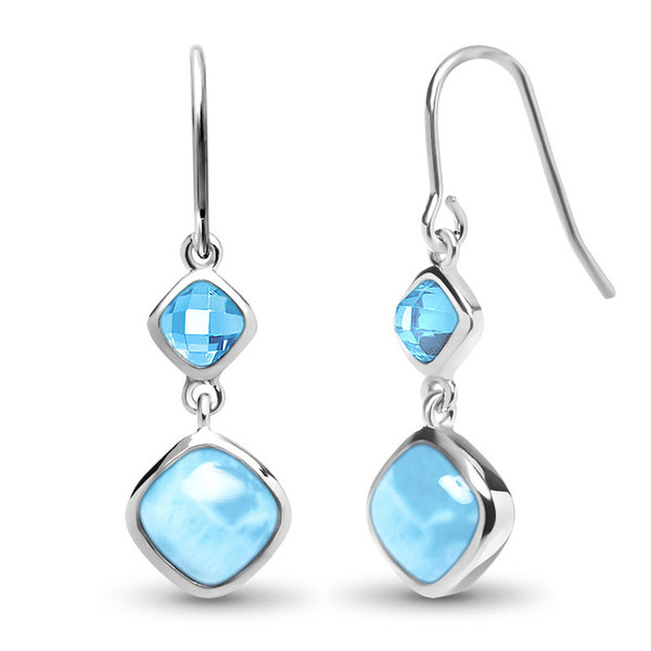 MarahLago Atlantic Collection Cushion Larimar Earrings with Blue Spinel