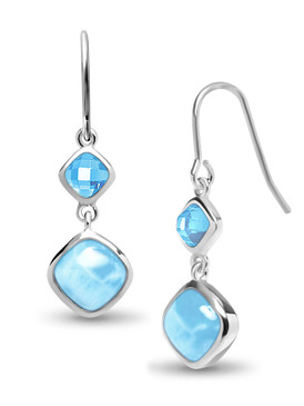 MarahLago Atlantic Collection Cushion Larimar Earrings with Blue Spinel - 3x4