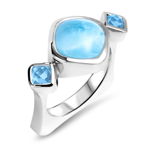 MarahLago Atlantic Collection Cushion Larimar Ring with Blue Spinel