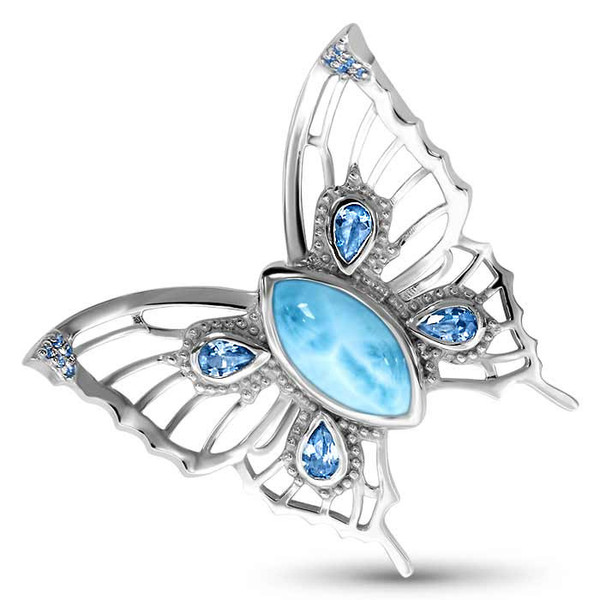 MarahLago Wildlife Collection Large Larimar Butterfly Pendant with Blue Topaz