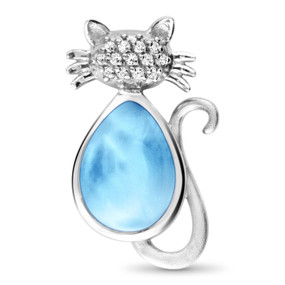 MarahLago Wildlife Collection Larimar Cat Necklace with White Sapphire