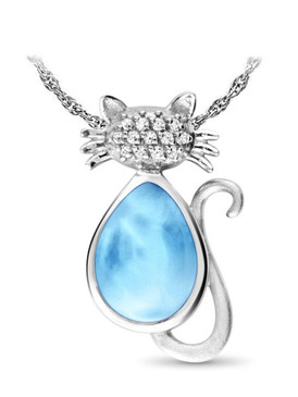 MarahLago Wildlife Collection Larimar Cat Necklace - 3x4