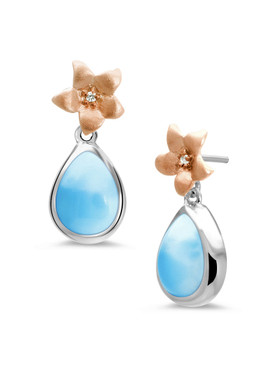 MarahLago Plumeria Collection Larimar Earrings - 3x4