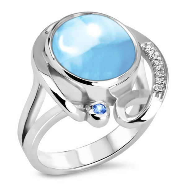 MarahLago Mia Collection Larimar Ring with White Sapphires and Blue Spinel