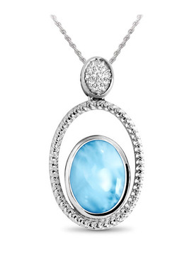 MarahLago Phoenix Collection Larimar Necklace with White Sapphires - 3x4