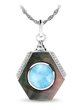 MarahLago Shadow Collection Larimar Necklace - 3x4