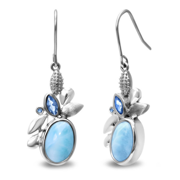 MarahLago Tiana Collection Larimar Earrings with Blue Spinel
