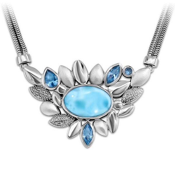 MarahLago Tiana Collection Larimar Necklace with Blue Spinel