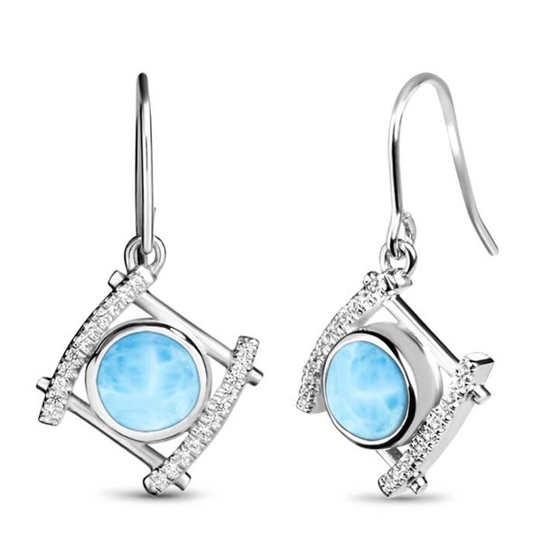 MarahLago Vixen Collection Larimar Earrings with White Sapphire