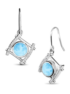 MarahLago Vixen Collection Larimar Earrings with White Sapphire - 3x4