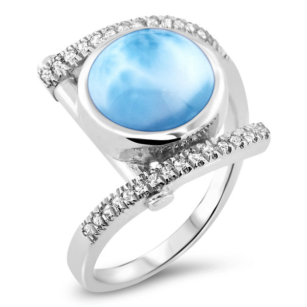 MarahLago Vixen Collection Larimar Ring with White Sapphire