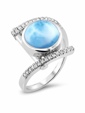MarahLago Vixen Collection Larimar Ring with White Sapphire - 3x4