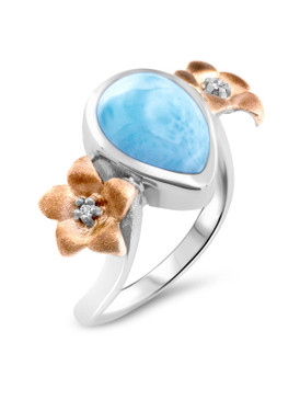 MarahLago Plumeria Collection Larimar Ring with Rose Gold 3x4