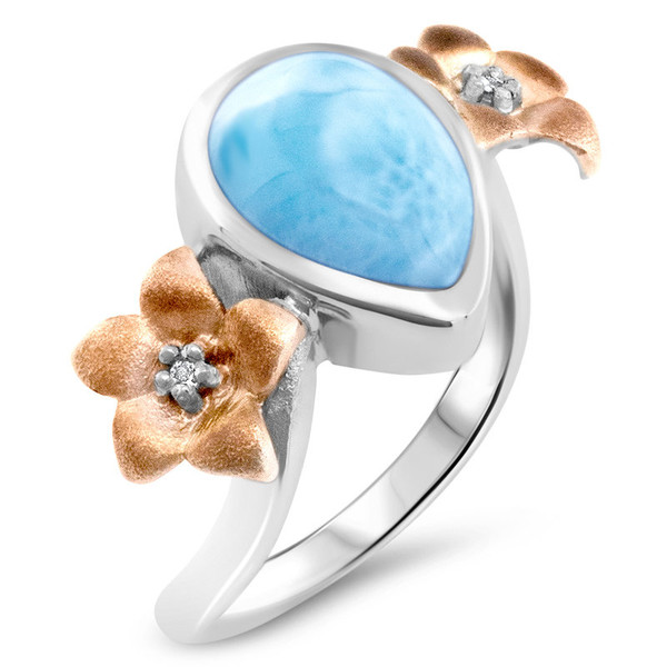 MarahLago Plumeria Collection Larimar Ring with Rose Gold