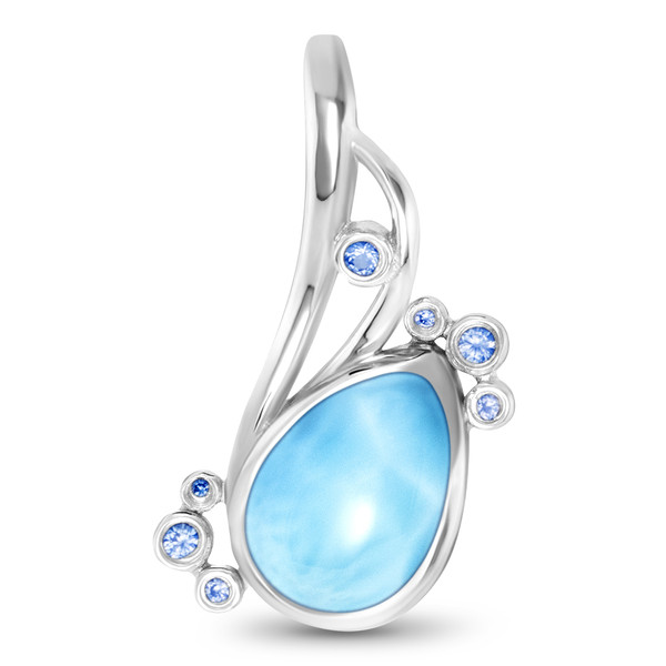 MarahLago Whisper Collection Larimar Pendant / Necklace with Blue Spinel