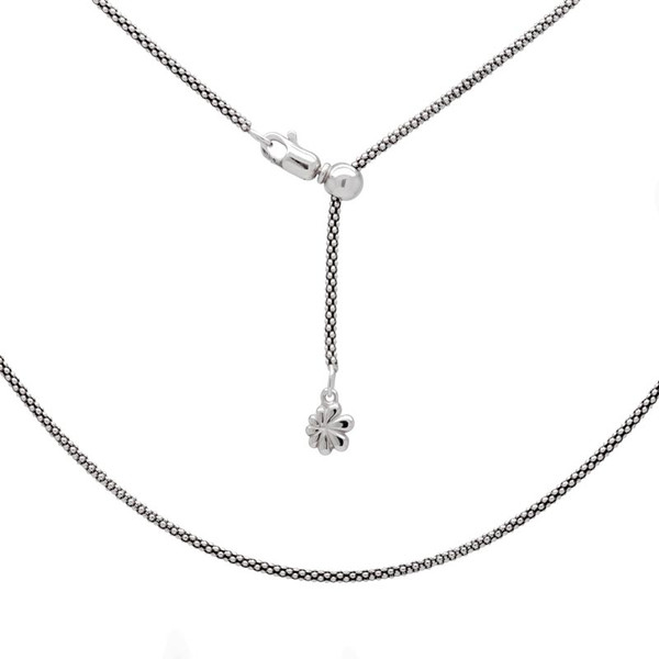 MarahLago Sterling Silver Oxidized Popcorn Chain - Adjustable up to 21""