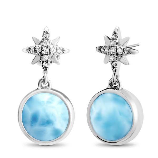 MarahLago Destiny Collection Larimar Earrings with White Sapphire