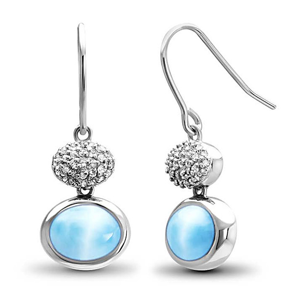 MarahLago Eclipse Collection Larimar Earrings with White Sapphires - New Design!
