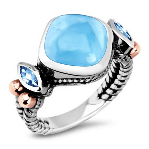 MarahLago Elena Collection Larimar Ring with Blue Topaz