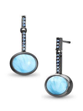 MarahLago Jada Collection Larimar Earrings with Blue Spinel set in Black Rhodium