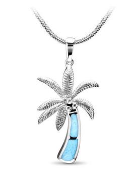 MarahLago SeaLife Collection Larimar Inlay Palm Tree Pendant - New Design