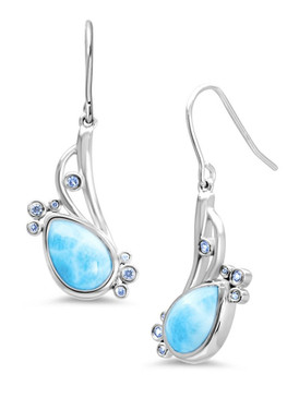 MarahLago Whisper Collection Larimar Earrings with Blue Spinel