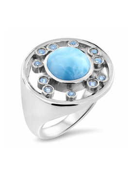 MarahLago Zion Collection Larimar Ring with Blue Spinel - 3x4