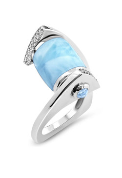 MarahLago Xia Collection Larimar Ring with White Sapphire - 3x4