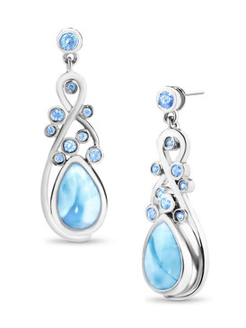 MarahLago Constellation Collection Larimar Earrings with Blue Spinel - 3x4