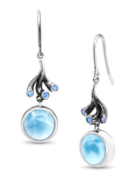MarahLago Odessa Collection Larimar Earrings with Blue Spinel 3x4
