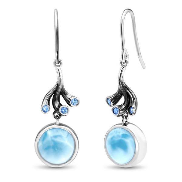 MarahLago Odessa Collection Larimar Earrings with Blue Spinel