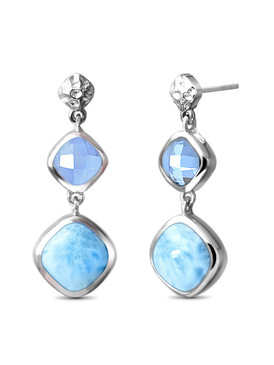 MarahLago Faceta Collection Larimar Earrings with Blue Topaz