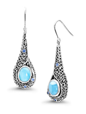 MarahLago Imani Collection Larimar Earrings with Blue Spinel - 3x4