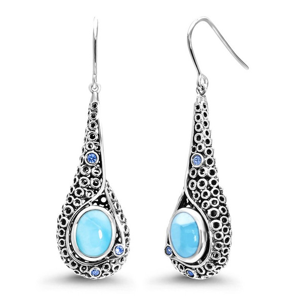 MarahLago Imani Collection Larimar Earrings with Blue Spinel