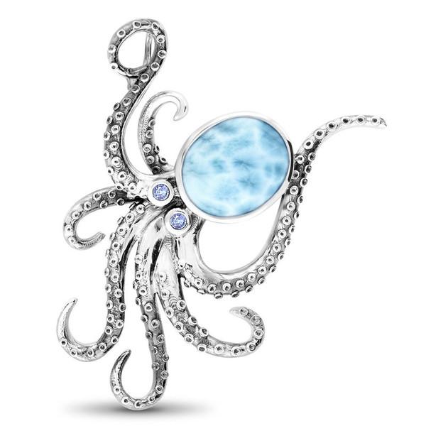 MarahLago SeaLife Collection Oxidized Octopus Larimar Necklace