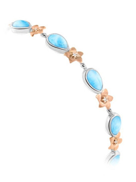 MarahLago Plumeria Collection Larimar Bracelet 3x4