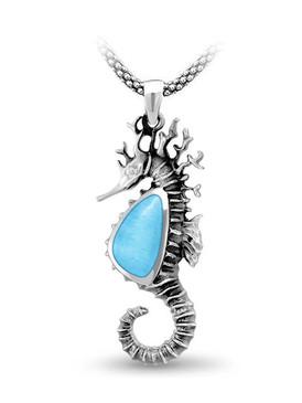 MarahLago SeaLife Collection Larimar Thorny Seahorse Necklace