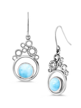 MarahLago Paradise Collection Larimar Earrings with White Sapphire - Restyled
