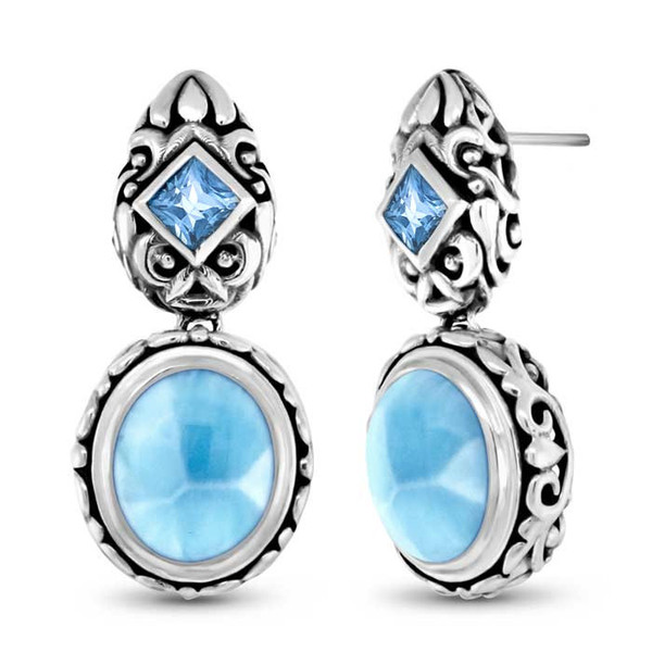 MarahLago Oceana Collection Larimar Earrings with London Blue Topaz - New Design!
